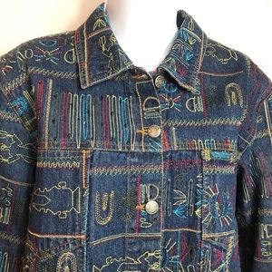 Chico's design denim jacket beads & embroidery